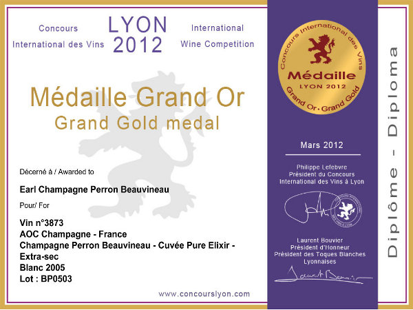 Médaille Grand Or 2012